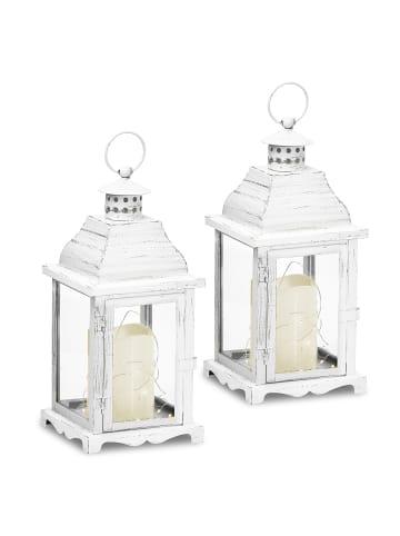 Gartenfreude Metall Lampe 2er-Set mit LED Kerze in Weiß ohne Ausschnitt