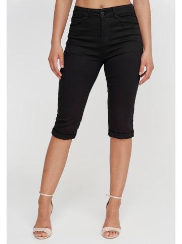 I dodo Capri Jeans Shorts 3/4 Stretch Kurze Chino Hose Bermuda Pants in Schwarz