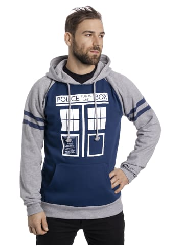 BBC Kapuzensweatshirt Doctor Who Tardis Raglan Hoodie in blau/grau
