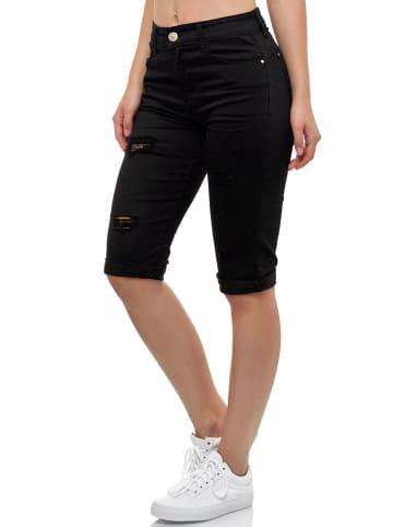 MiSS RJ Kurze Capri Jeans Shorts leichte Bermuda Sommer in Schwarz