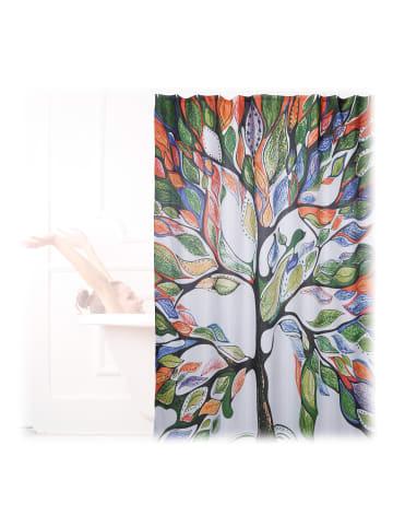 Relaxdays Duschvorhang Baum in Bunt - (L)200 x (B)180 cm
