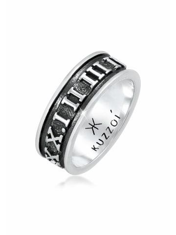 KUZZOI Ring 925 Sterling Silber Zahlen in Grau
