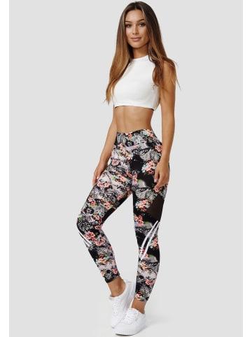 Holala Stretch Leggings Fitness Hose mit Blumen Print in Orange