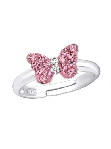Schmuck23 Ring 925 Silber Schmetterling in Pink