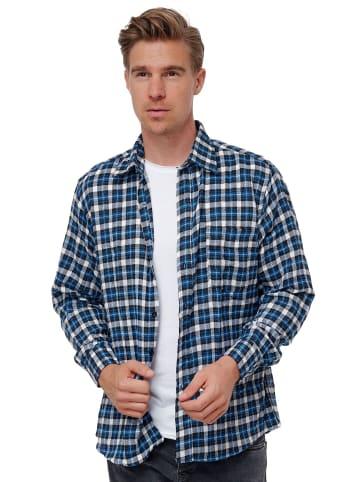 SECOLO Kariertes Flanell Hemd Holzfäller Karohemd Herrenshirt in Blau