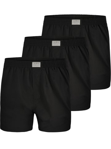 Lakeford & Sons Web Boxershorts 3-Pack 'Uni Dyed' in Schwarz