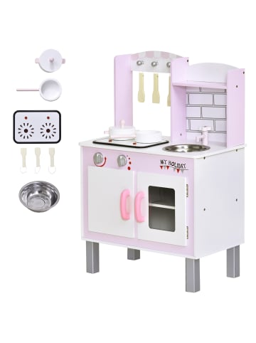 HOMCOM Kinderspielküche in Rosa