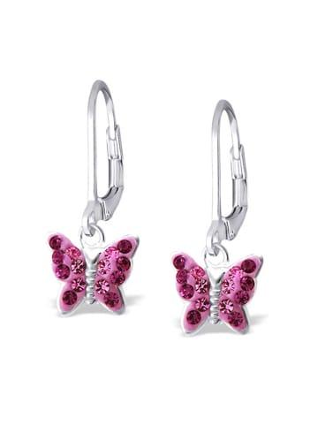 Schmuck23 Ohrringe 925 Silber Schmetterling in Pink