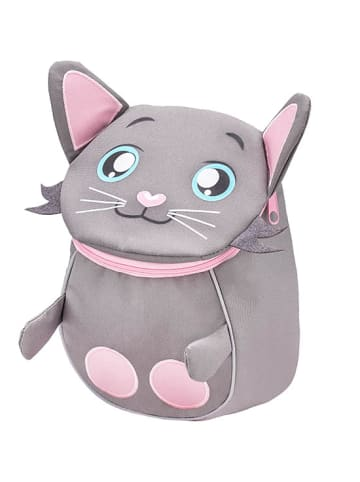 """Belmil Kindergartenrucksack """"Mini Animal Mini  Kitten"""" in Grau/Rosa - H 25 L 18 T 11 cm"""