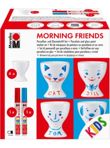 "Marabu KIDS Porzellan- & Glasfarben-Set ""Morning friends"", 4 Eierbecher & Stifte"
