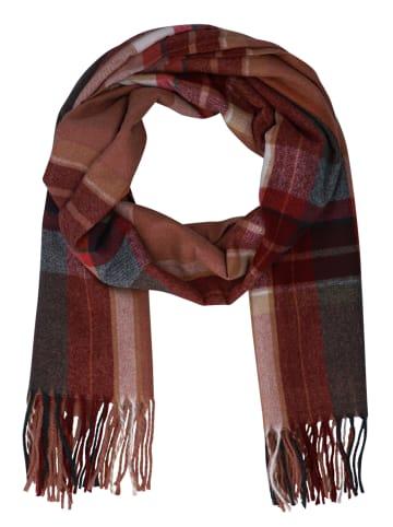 Six Schal mit Fransen und Karo-Muster in braun