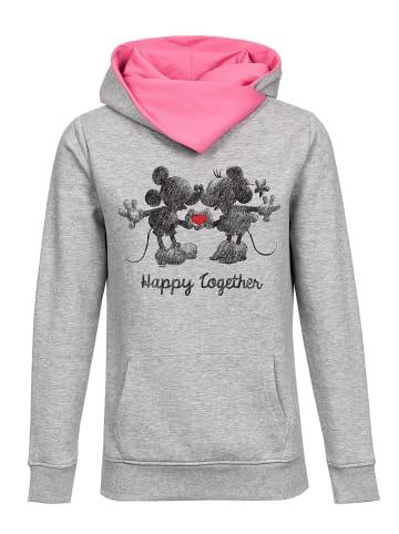 Disney Schalkragenpullover Disney Happy Together in grau meliert/pink