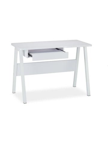 Relaxdays Schreibtisch in Weiß - (B)110 x (H)77,5 x (T)58 cm