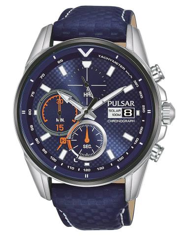 Pulsar Herrenuhr Solar Chronograph Rally Blau / Silber