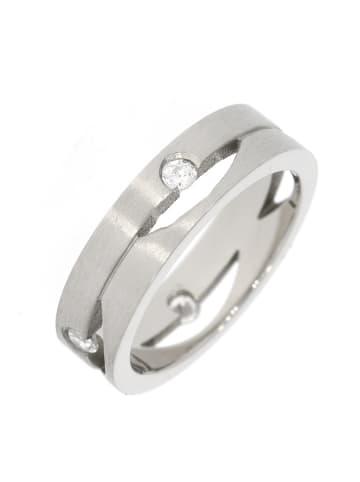 """Gooix Ring """"mit 4 Zirkonia mattiert / poliert 6 mm"""" in silber"""