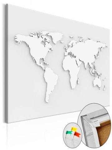 Artgeist Pinnwand Bild Monochromatic World [Cork Map] in Weiß