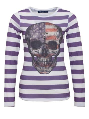 BLUE MONKEY BLUE MONKEY BLUE MONKEY Longshirt mit Fotodruck mit Streifen Alloverdruck Skull Style 5 18-3518 in faded purple