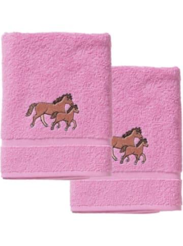 MyToys-COLLECTION Handtuch 2er Set, je 50 x 100 cm, Pferd, rosa von Pötter
