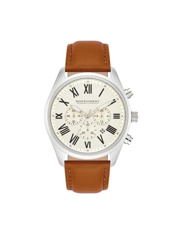 Montgomery Chronograph Brentwood in Silber Echtleder in Braun in braun