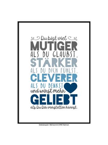 """SMART ART Kunstdrucke Kunstdruck / Poster """"Du wirst geliebt, blaue Farbversion"""" / A4 oder A3"""