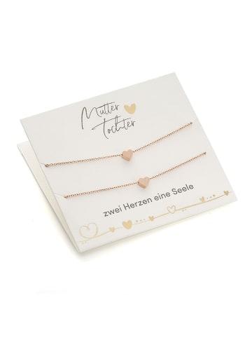 Himmelsflüsterer  Herz-Armbänder für Mutter & Tochter mit Geschenkkarte - Farbe: Roségold