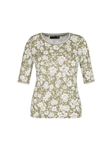 Thomas Rabe Shirt mit floralem Muster und halblangen Ärmeln in FARN