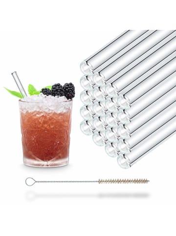 HÅLM 20er Party-Set Trinkhalme: Glas-Strohhalme in Transparent - 15 cm