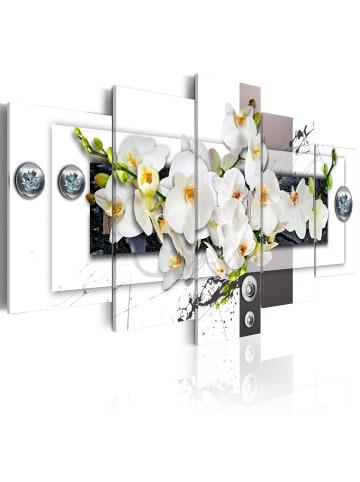 Artgeist Wandbild Mechanical Orchid in Grau,Weiß,Schwarz