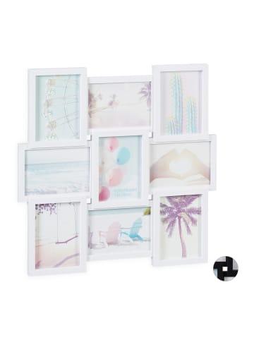 Relaxdays Bilderrahmen für 9 Bilder in Weiß - (B)54 x (H)54 cm