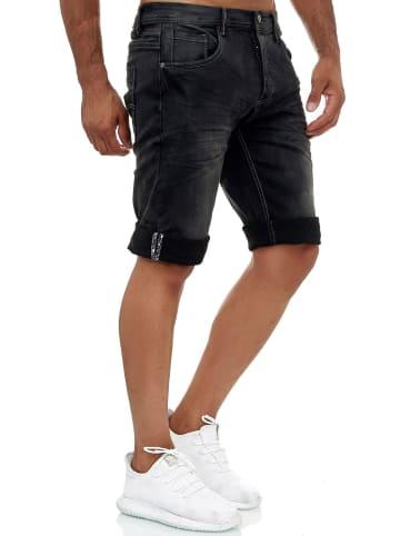 Jaylvis Jeans Shorts Kurze Stretch Hose Bermuda Design in Grau