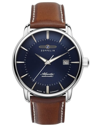 Zeppelin Herrenuhr Automatik Atlantic Swiss Lederband braun