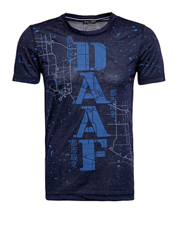 Daniel Daaf Daniel Daaf DANIEL DAAF T-Shirt in Flammgarnoptik mit Frontprint in navy