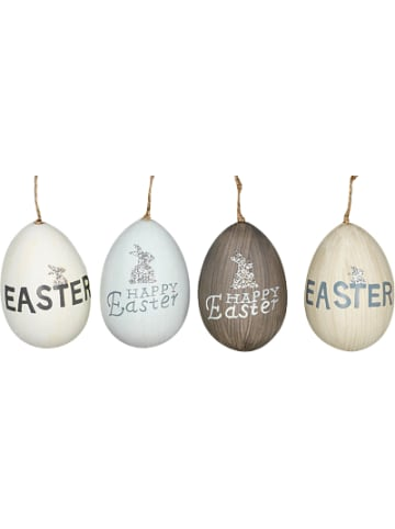 "Hoff Interieur 4-tlg. Ostereier ""Happy Easter"" je H8 cm"