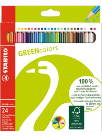 STABILO GREENcolors Buntstifte, 24 Farben