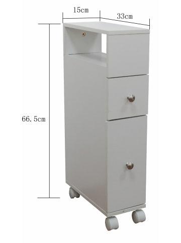 HappyHome Badezimmerschrank mit Rollen in Weiß - B15 x T33 x H65 cm
