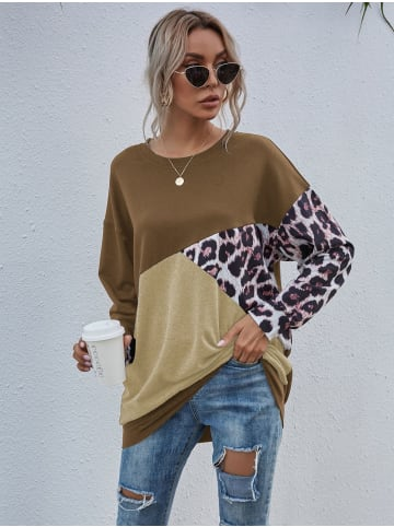 Enflame Leo Muster Long Shirt Legerer Oversized Sweater Pullover in Braun