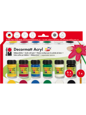 Marabu Starterset Decormatt Acryl, 6 x 15 ml + Pinsel