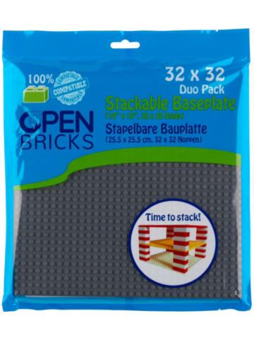 Open Bricks stapelbare Bauplatte 32x32 dark grey 2er Set stapelbare Bauplatten -...