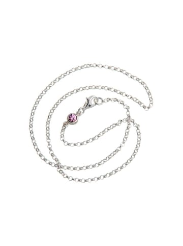 ChainMAGPIE 925 Silber Kinderkette mit rosafarbenen Swarovski Kristall