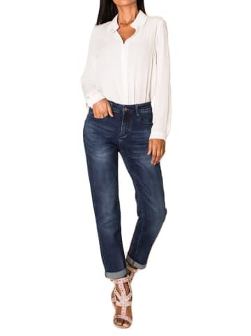 Nina Carter Boyfriend Denim Jeans Hose Stretch Weites Bein Baggy Relaxed in Dunkelblau
