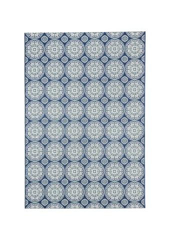 Pergamon In- und Outdoor Teppich Carpetto Kreise in Blau