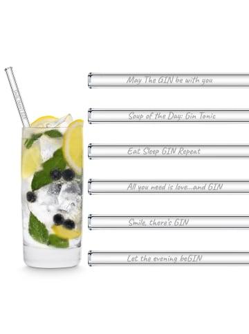 """HÅLM 6er Set Trinkhalm: """"Gin-Edition"""" Glas-Strohhalme in Transparent - 20 cm"""