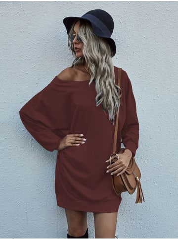 Enflame Off-Shoulder Long Shirt Oversized Pullover Dress French Terry in Weinrot