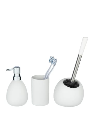 Wenko Bad-Accessoire Set Polaris, Weiß matt, 3-teilig, Keramik in Weiß