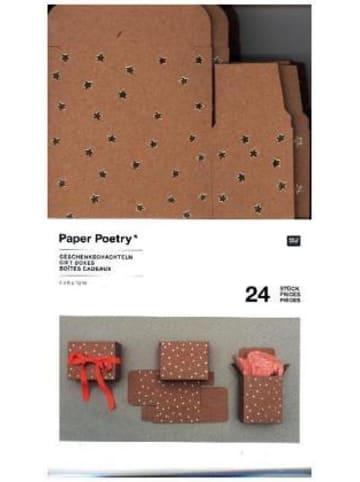 Rico Design Adventskalender Boxen Kraftpapier/Gold, 24 Stück