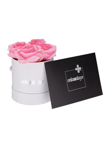 Relaxdays Rosenbox 4 rosa Rosen in Weiß