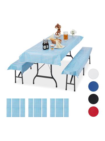 Relaxdays 12x Bierzeltgarnitur Auflage in Weiß/ Blau
