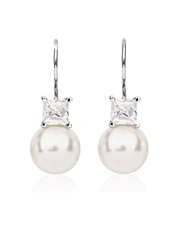 Nenalina Ohrringe 925 Sterling Silber Perle, Perlenohrhänger in Silber