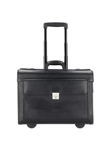 Alassio 2-Rollen Pilotenkoffer Leder 48 cm Laptopfach in schwarz