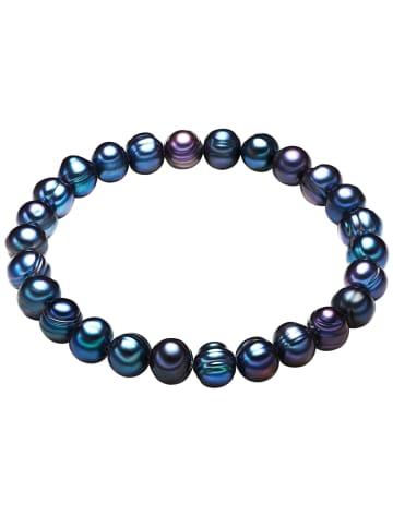 Valero Pearls Perlen-Armband Süßwasser-Zuchtperle in Pfauenblau in pfauenblau
